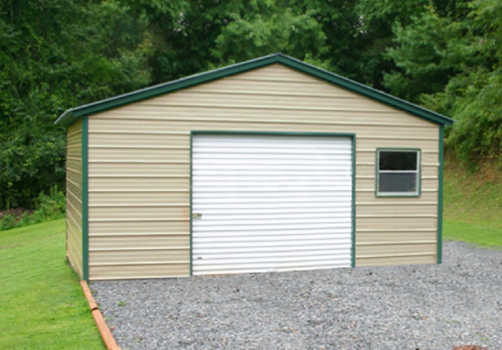 One car metal garage building kits for 1 car garage cost