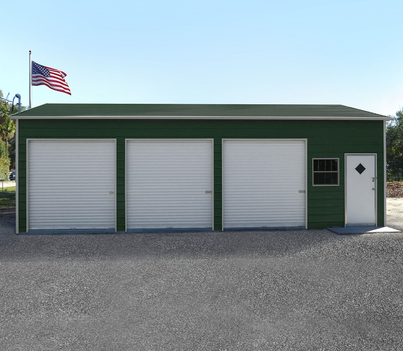 Three Car Steel Garage Metal Building Kit With Doors
